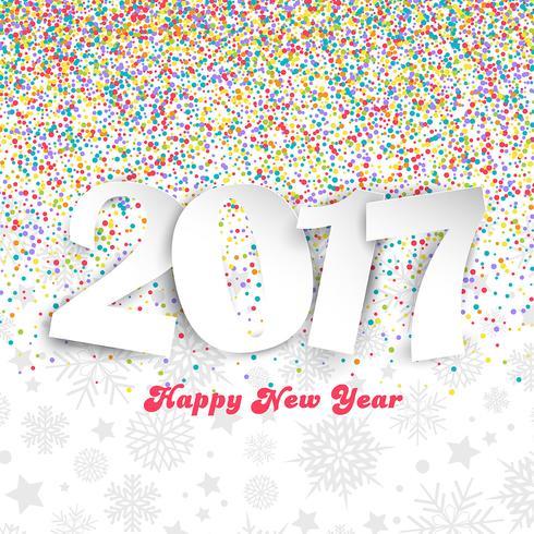 Felice anno nuovo sfondo con coriandoli colorati vettore