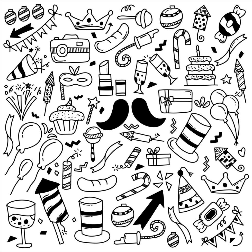 buon divertimento festa doodle vettore