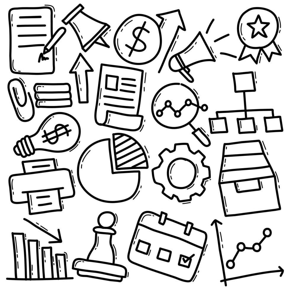 doodle marketing pack vettore