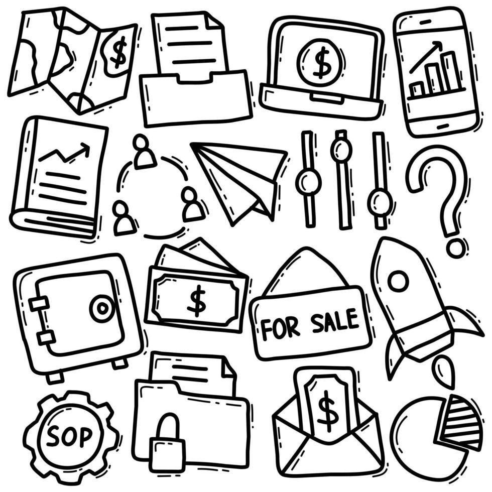 insieme dell'icona di doodle di affari e finanza vettore