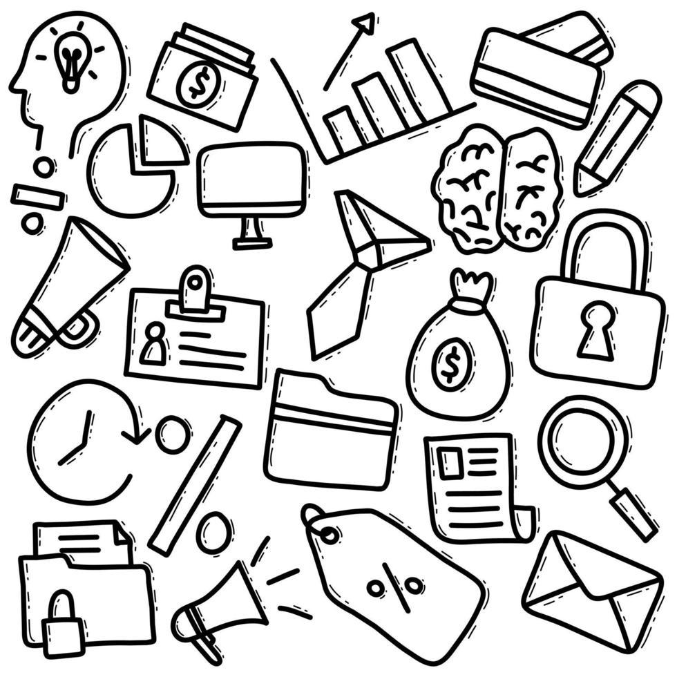 elementi di doodle disegnati a mano di affari vettore