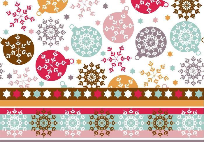 Pattern di sfondo e Illustrator per l'ornamento del fiocco di neve vettore