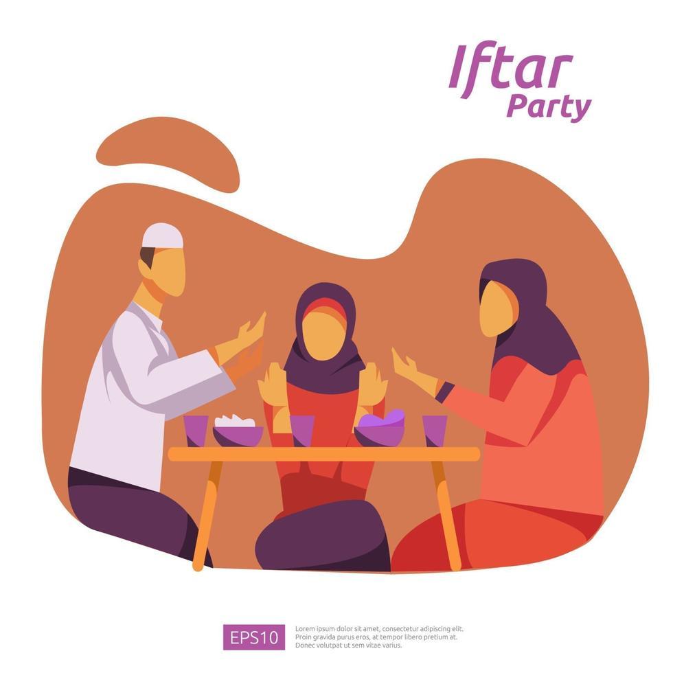 cena in famiglia musulmana su ramadan kareem o celebrazione di eid con carattere di persone. iftar mangiare dopo il digiuno concetto di festa di festa. modello di pagina di destinazione Web, banner, presentazione, social media o stampa vettore