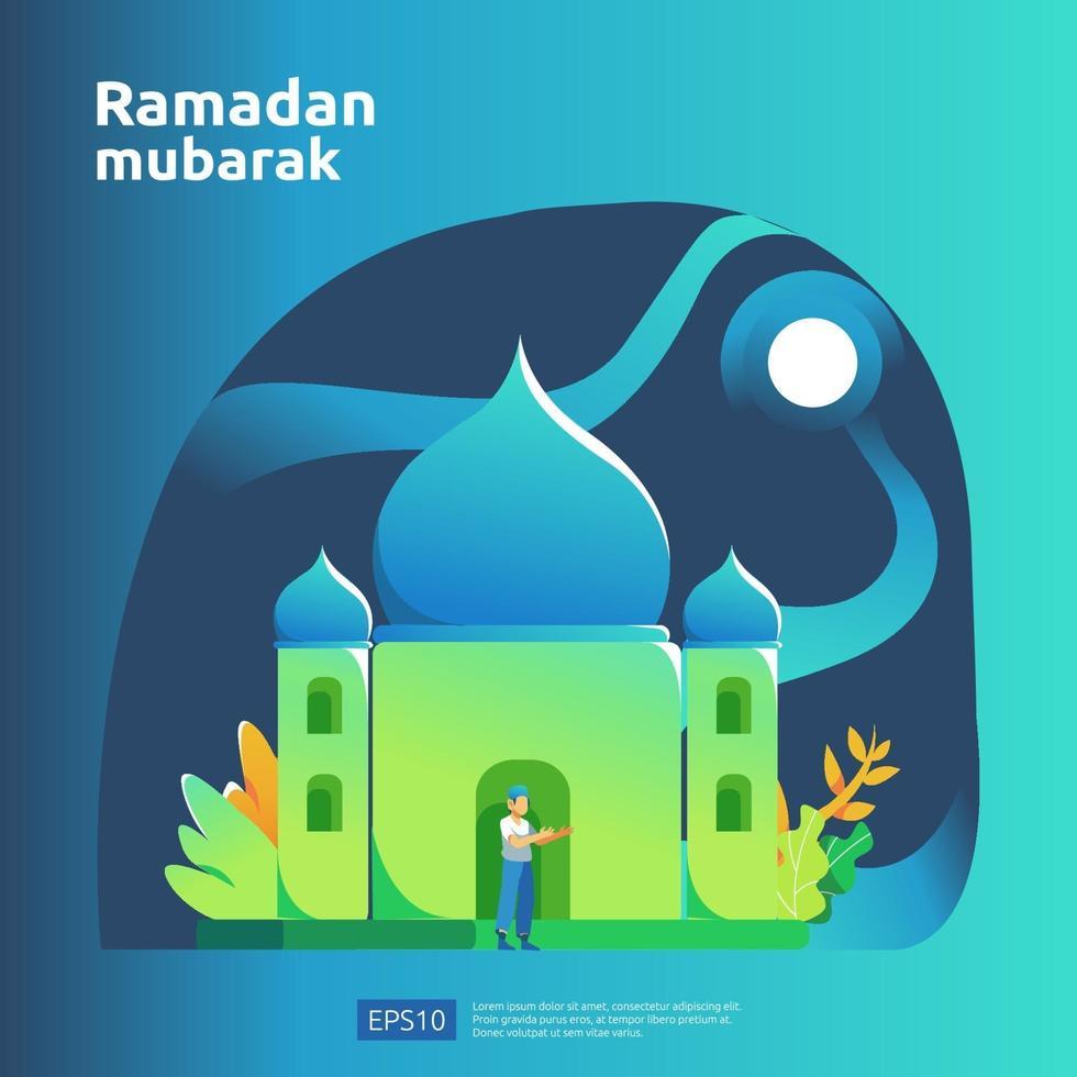 felice ramadan mubarak e eid islamico fitr o concetto di saluto design piatto adha con carattere di persone per modello di pagina di destinazione web, banner, presentazione, social e media di stampa vettore