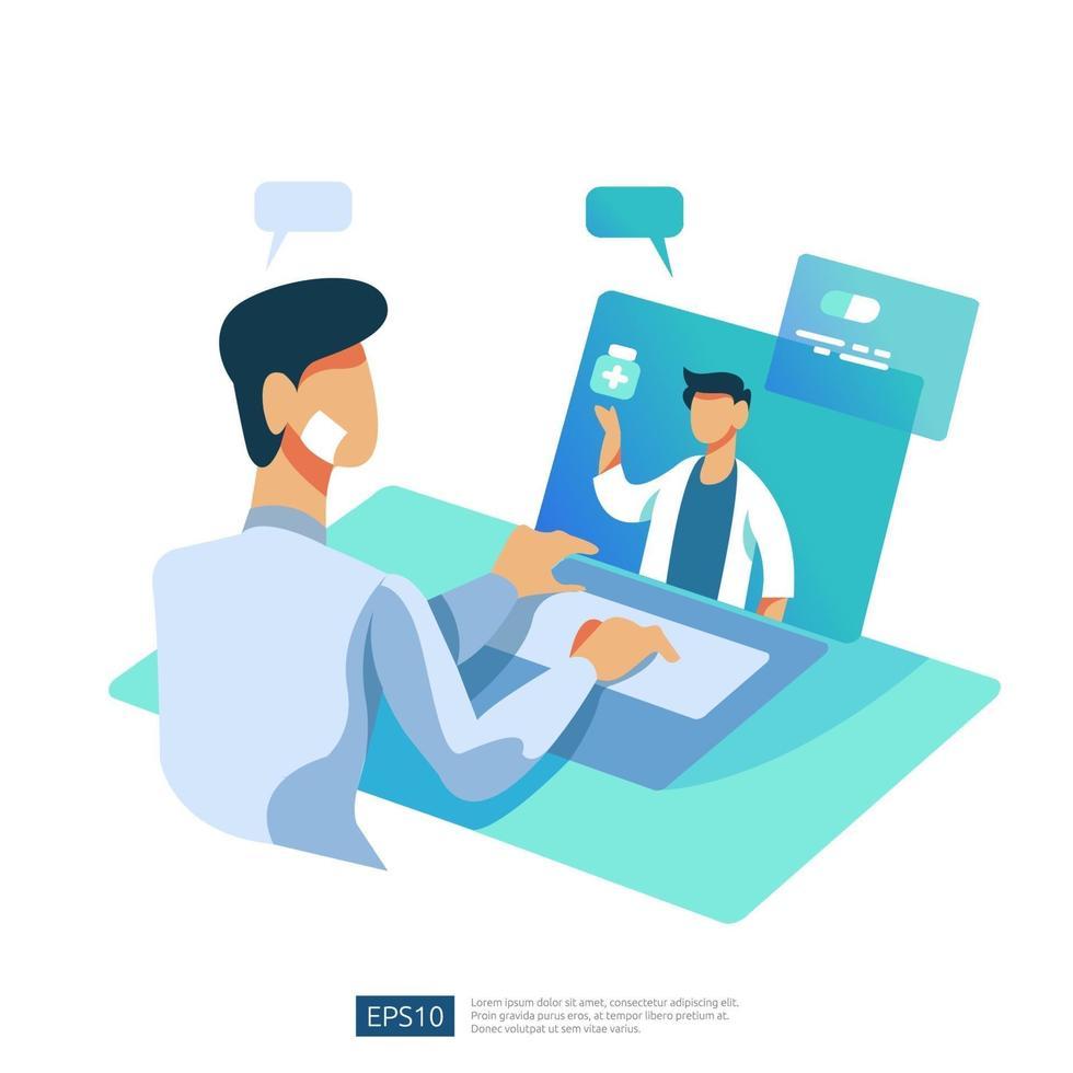 servizio di assistenza sanitaria online e consulenza medica. chiamare e chattare il concetto di supporto diagnostico medico. modello per pagina di destinazione web, banner, presentazione, social, poster, pubblicità, promozione o supporto di stampa vettore