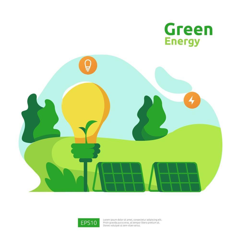 fonti di energia pulita verde con pannelli solari solari elettrici rinnovabili e turbine eoliche. concetto ambientale per modello di pagina di destinazione web, banner, presentazione, social e supporti di stampa vettore