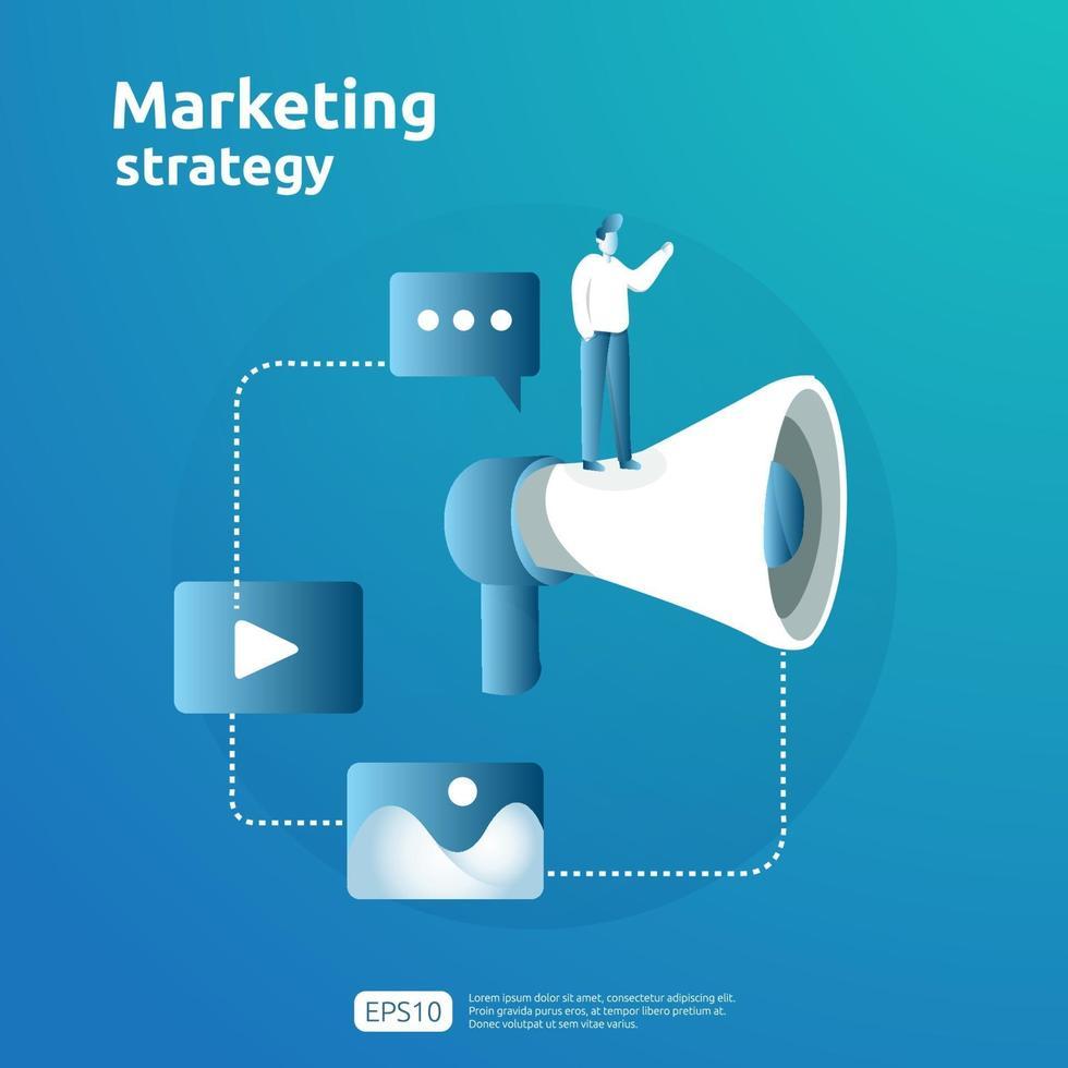 concetto di strategia di marketing dei social media online mobile e di affiliazione digitale. fare riferimento a un amico illustrazione della bandiera di vettore di strategia di promozione dei contenuti pubblicitari.