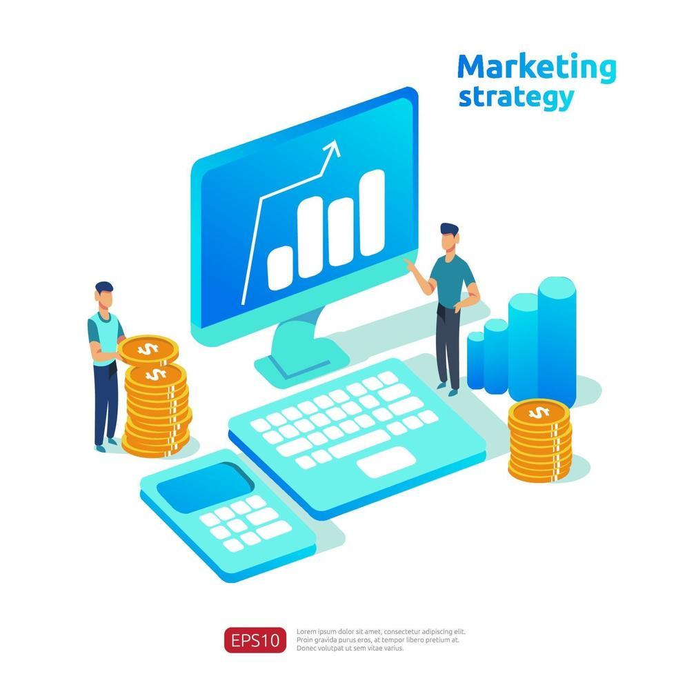 crescita del business e ritorno sull'investimento. concetto di strategia di marketing digitale con tavolo, oggetto grafico sullo schermo del computer. grafico aumentare il profitto. banner illustrazione vettoriale stile piatto