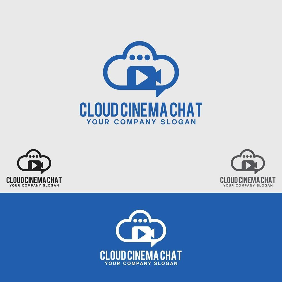 modello di progettazione logo cloud cinema chat vettore