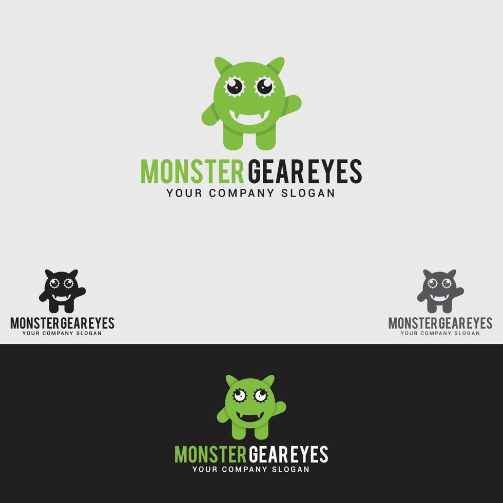 monster gear eyes logo design template vettoriale