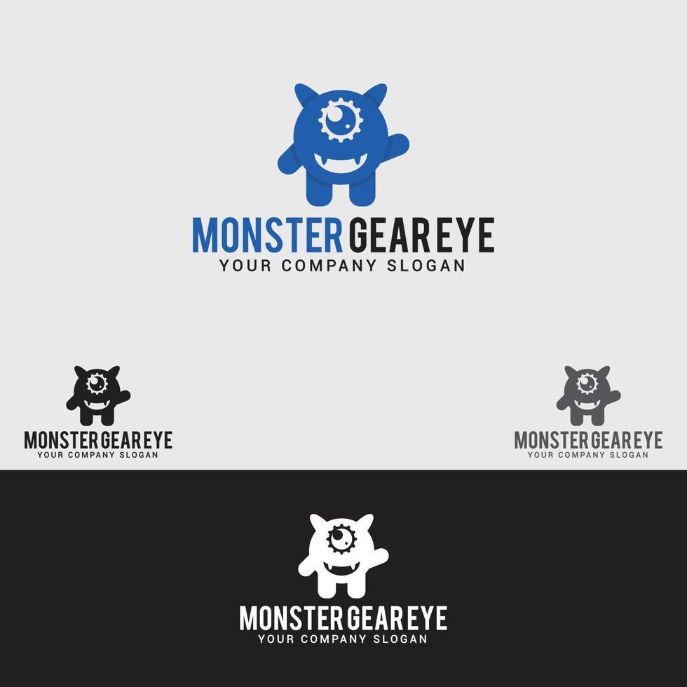 monster gear eye logo design template vettoriale