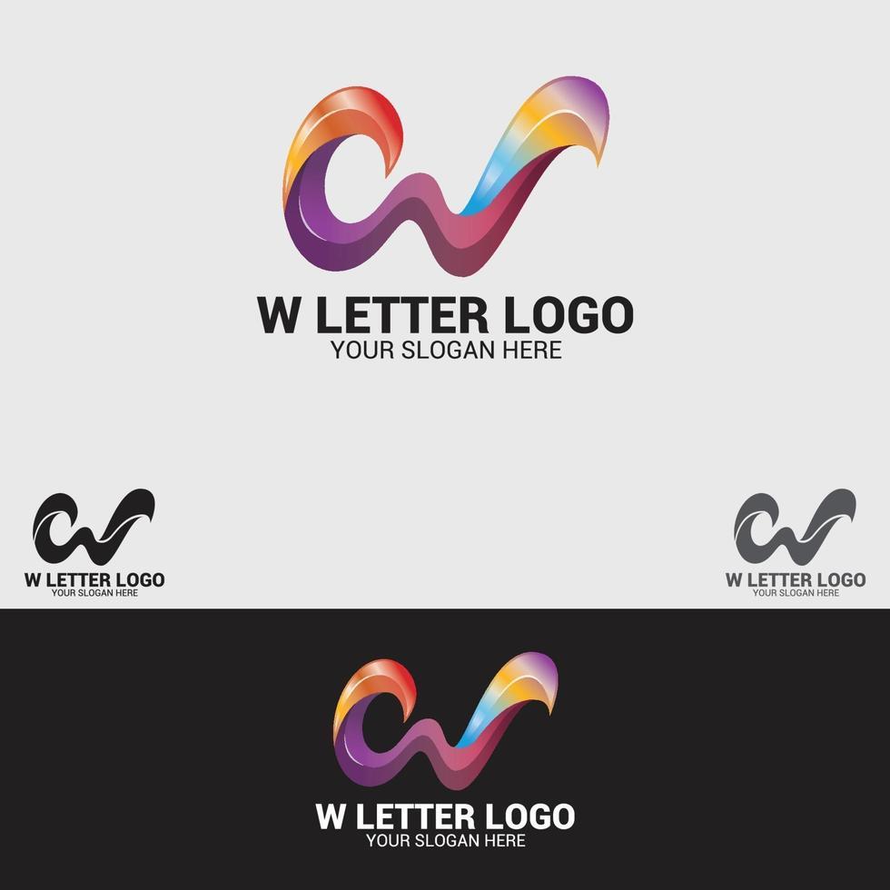 w-lettera logo design template vettoriale
