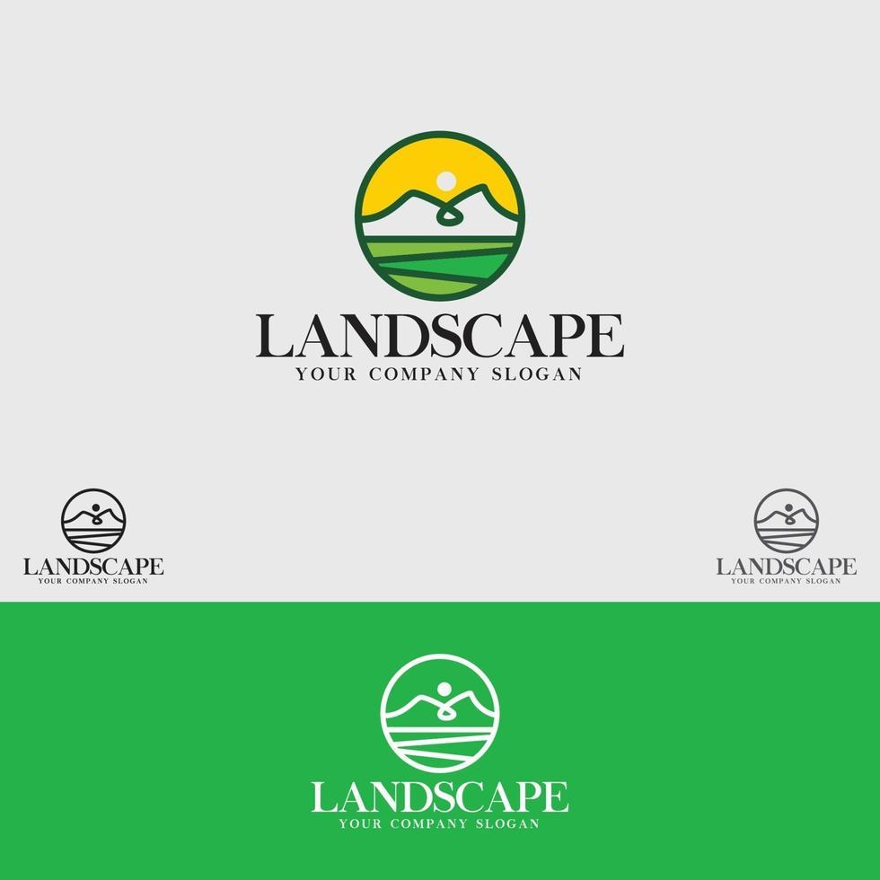 modello di vettore di progettazione di logo di paesaggio
