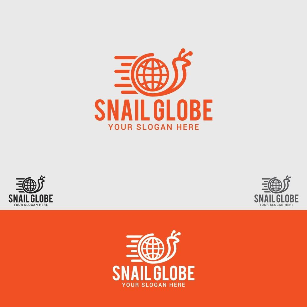 modello di vettore di progettazione di logo di lumaca-globo