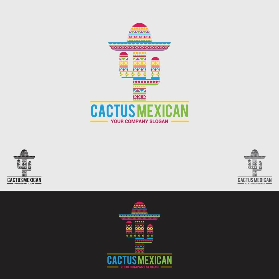 modello di vettore di progettazione logo messicano cactus