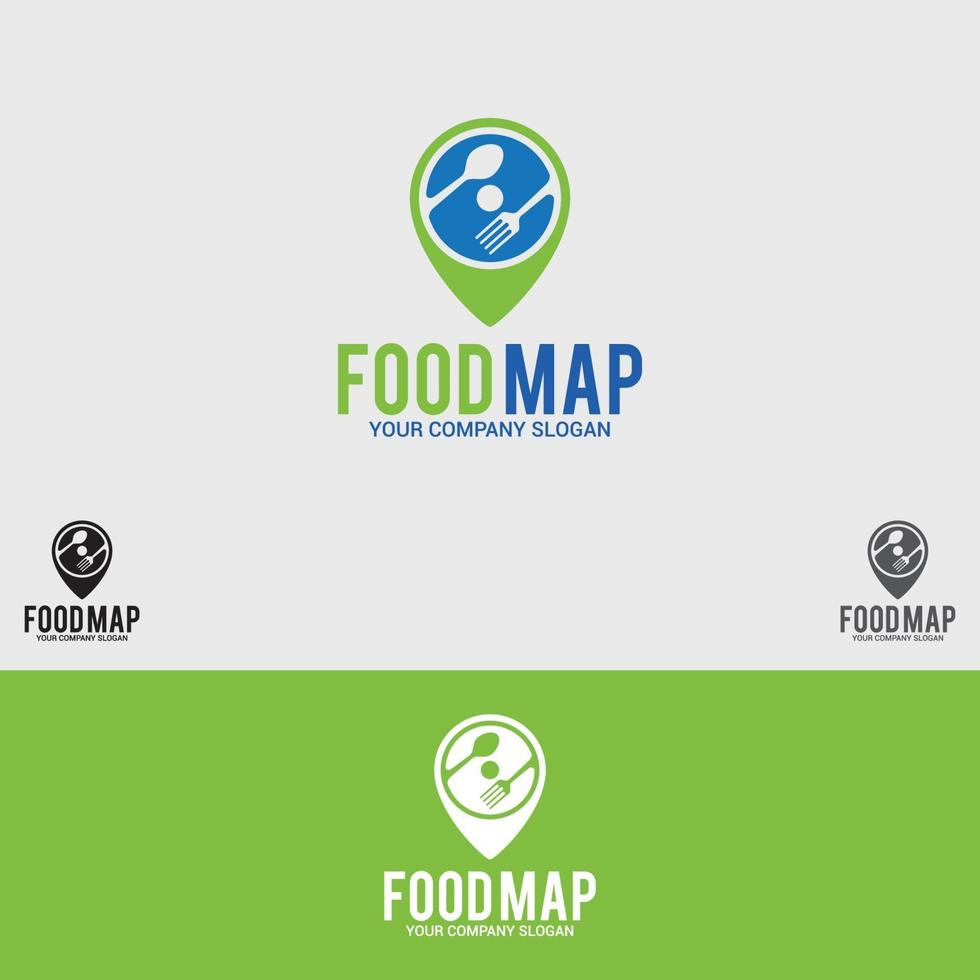 modello di vettore di progettazione di logo di cibo-mappa