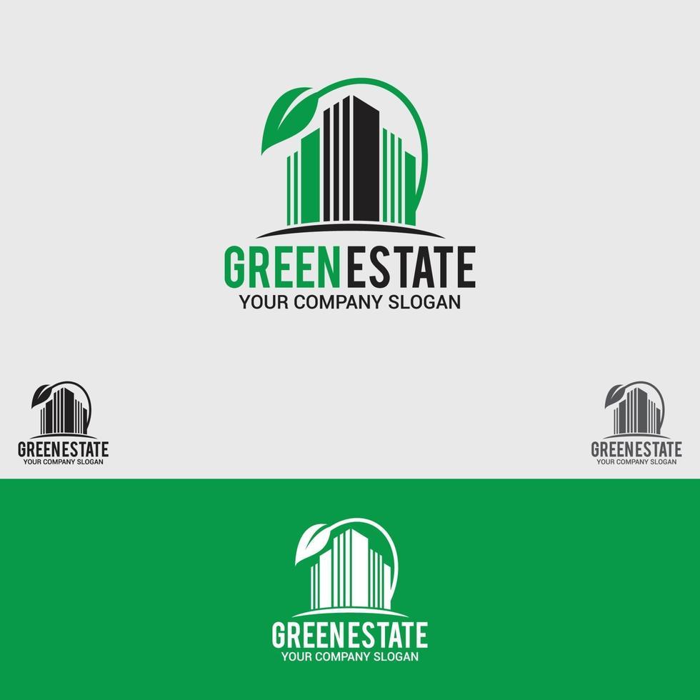modello di vettore di progettazione logo verde-estate, naturale, natura, pianta, proprietà, immobiliare, residenziale, albero