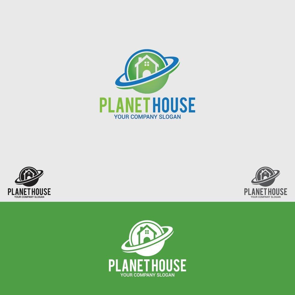 modello di vettore di progettazione di logo di pianeta-casa