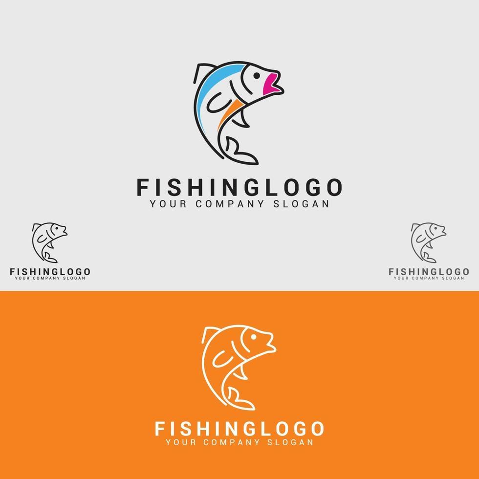 modello di pesca logo disegno vettoriale