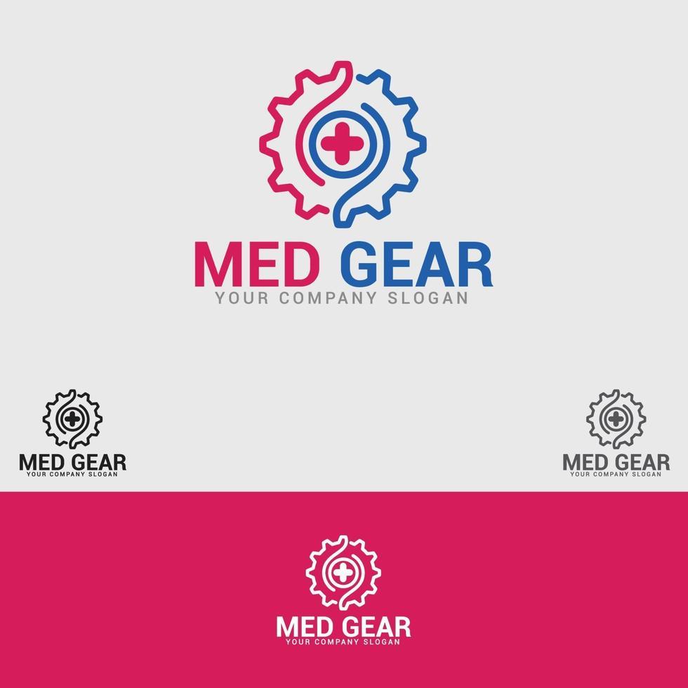 logo dell'ingranaggio medico vettore