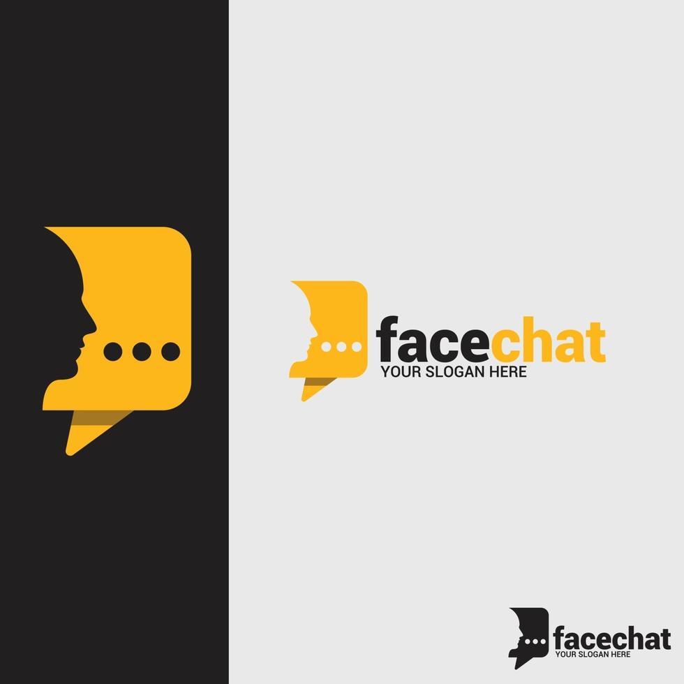modello di progettazione logo chat viso vettore