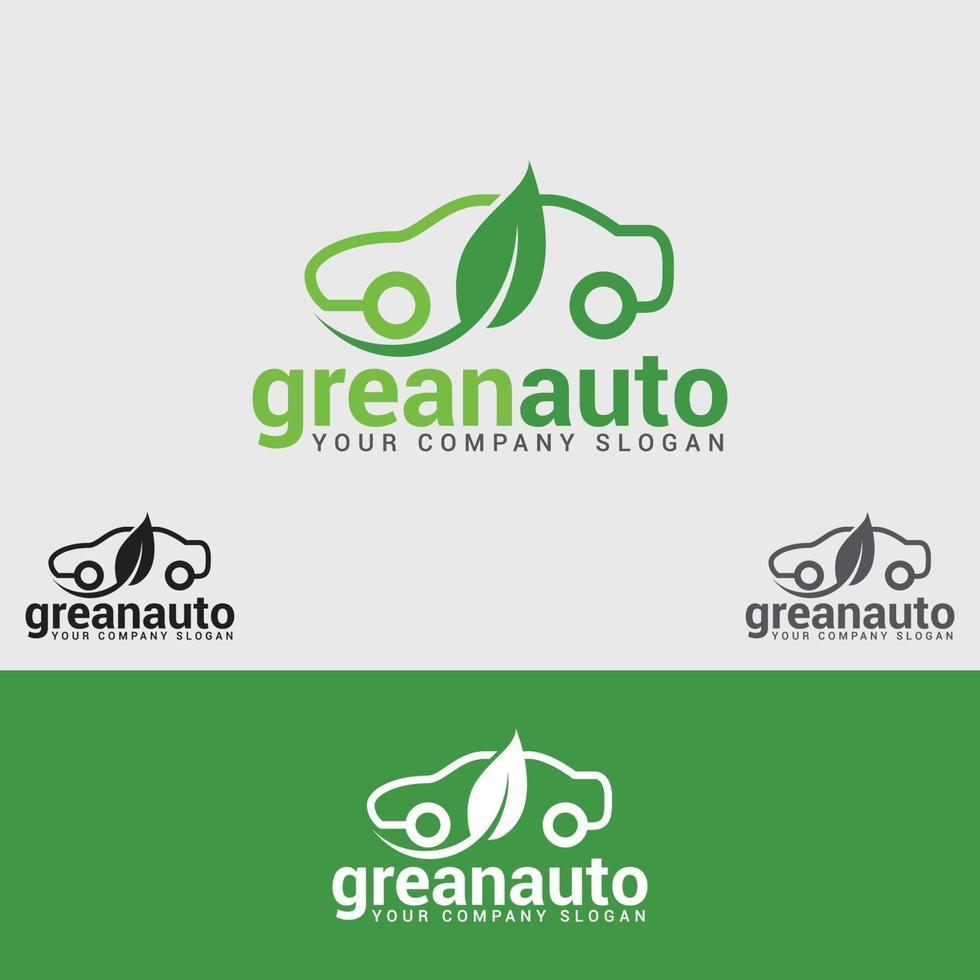 modello di progettazione logo auto verde vettore