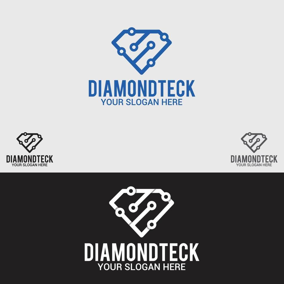 modello di vettore di progettazione di logo di tecnologia del diamante
