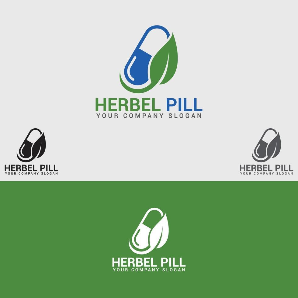 modello di progettazione di logo medico a base di erbe vettore