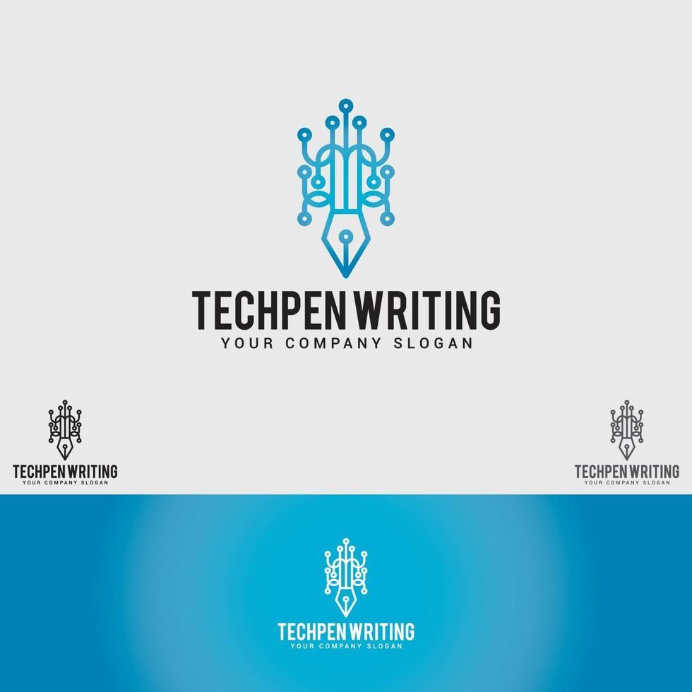 modello di progettazione logo penna tecnologia vettore