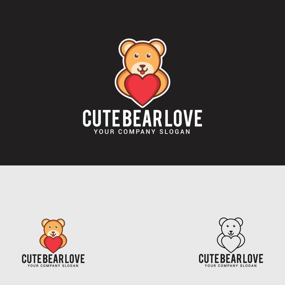 modello di progettazione logo amore carino orso vettore