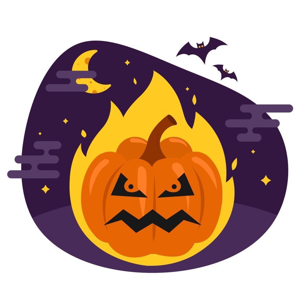 zucca infernale per halloween. il male vegetale brucia nel fuoco. illustrazione vettoriale piatta.