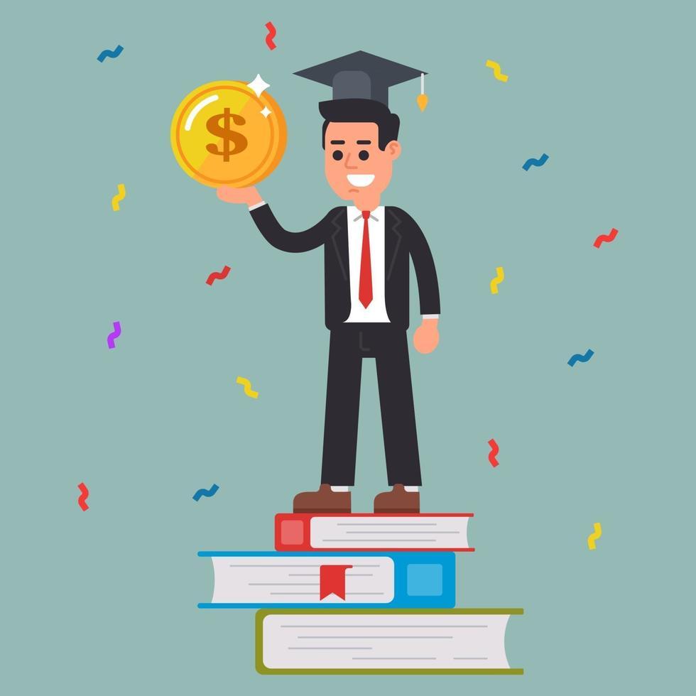 studente di successo con una moneta in mano. formazione. carattere vettoriale piatto