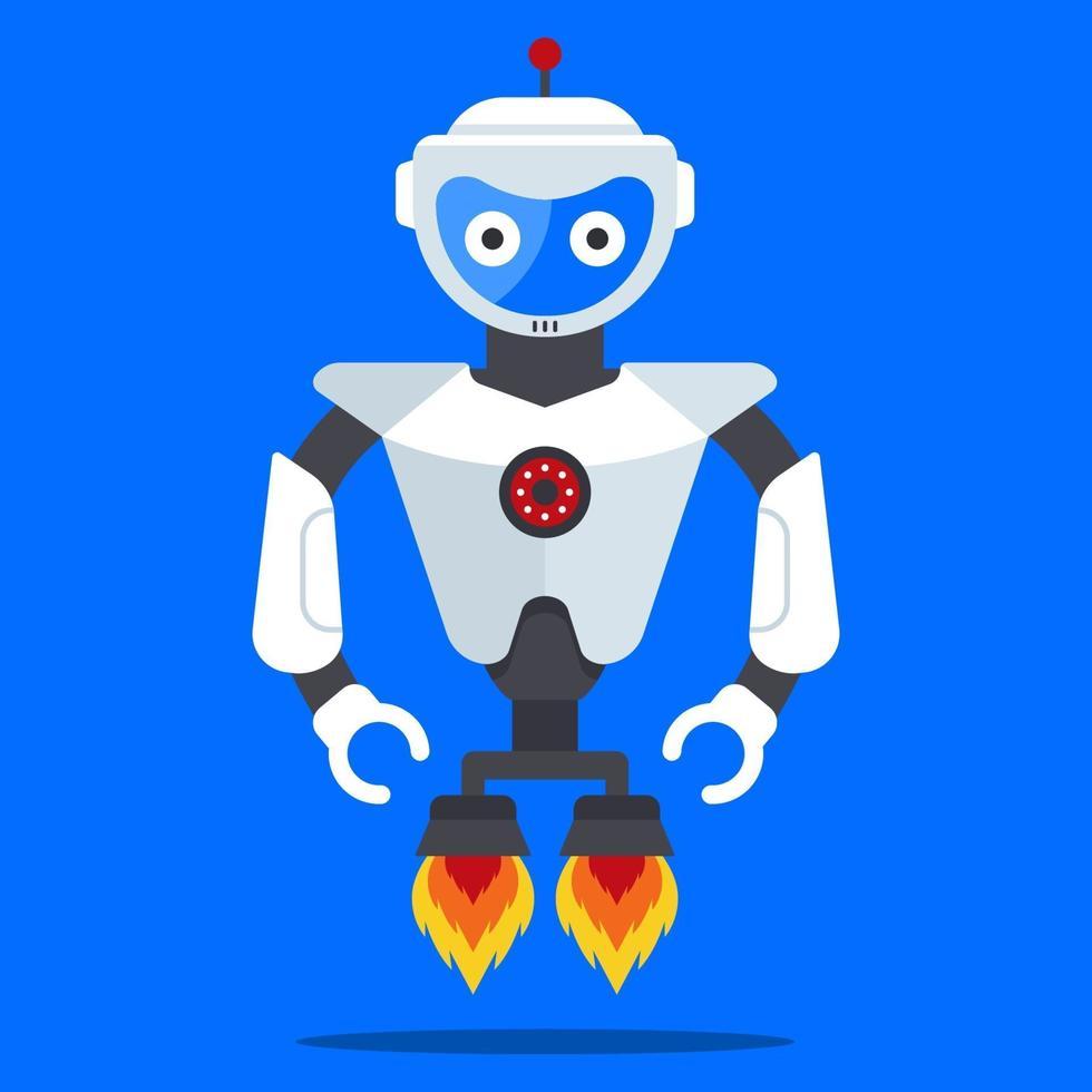 robot volante dal futuro. umanoide moderno e alla moda. illustrazione vettoriale di carattere piatto.