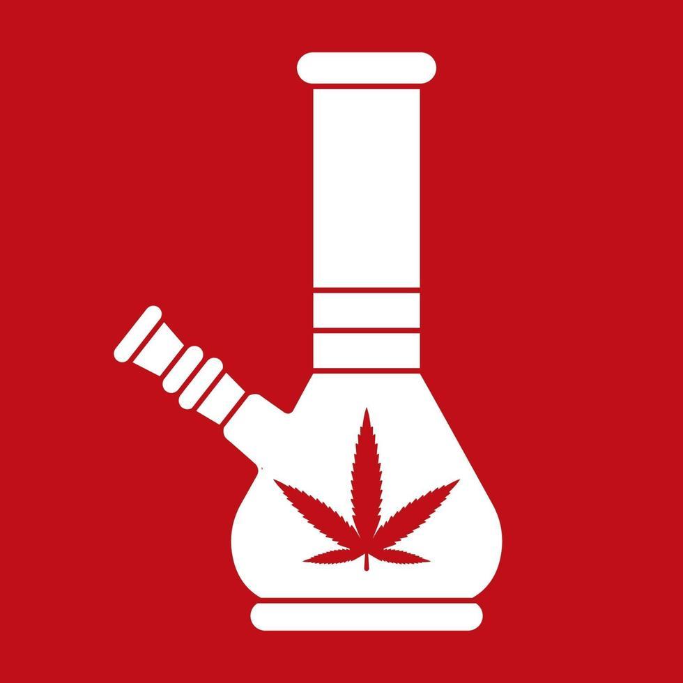 bong illustrazione piatta su uno sfondo rosso. emblema della marijuana. illustrazione vettoriale