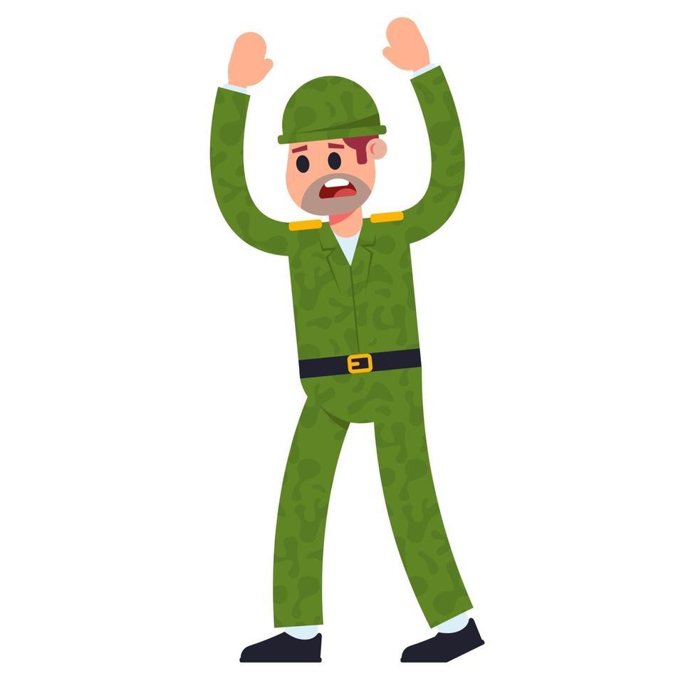 soldato in uniforme si arrende. illustrazione vettoriale di carattere piatto su uno sfondo bianco.