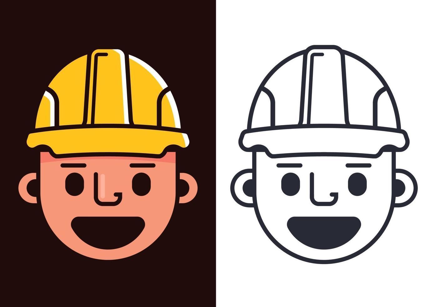 costruttore in un casco giallo. simpatico generatore di personaggi. illustrazione vettoriale piatta