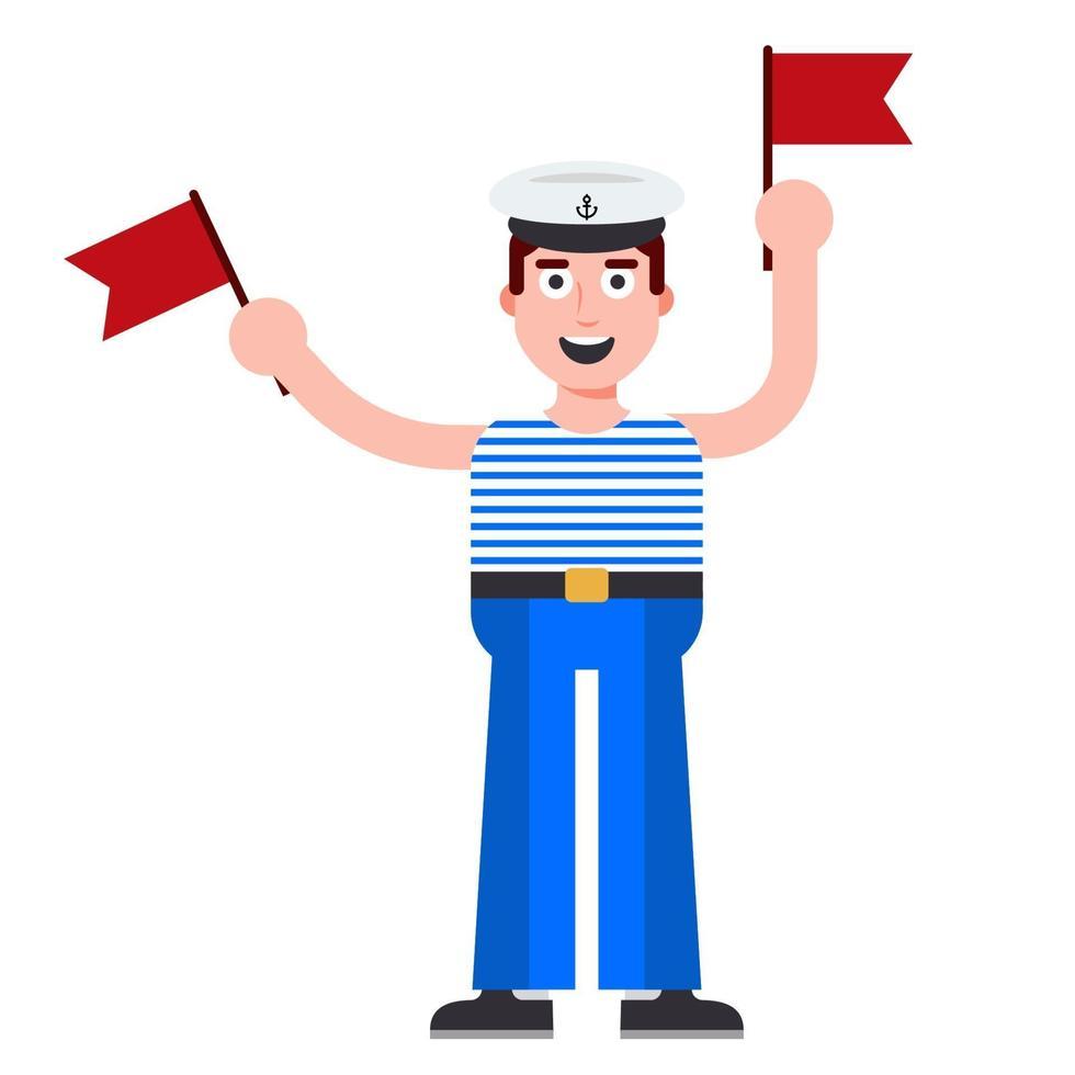 giovane marinaio con bandiere in mano. messaggio in codice sulla nave. illustrazione vettoriale di carattere piatto.