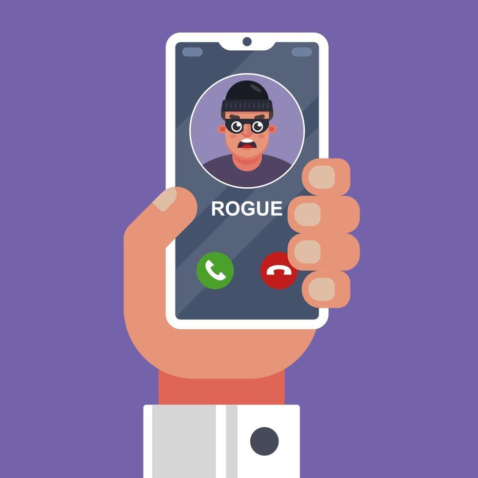 un truffatore sta chiamando su un telefono cellulare. estorcere denaro, barare al telefono. illustrazione vettoriale piatta