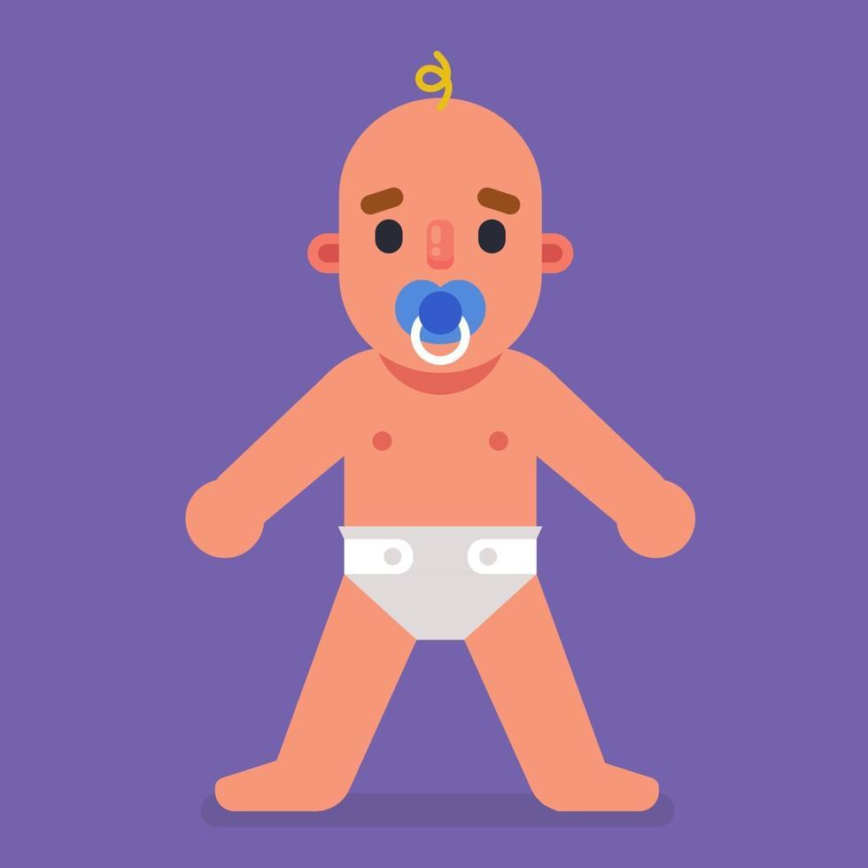 un bambino con ciuccio e pannolino è a tutta altezza. illustrazione vettoriale di carattere piatto.