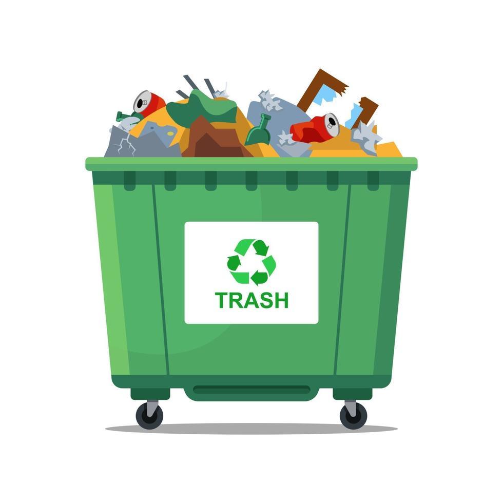 la pattumiera verde è piena di rifiuti. illustrazione vettoriale piatta
