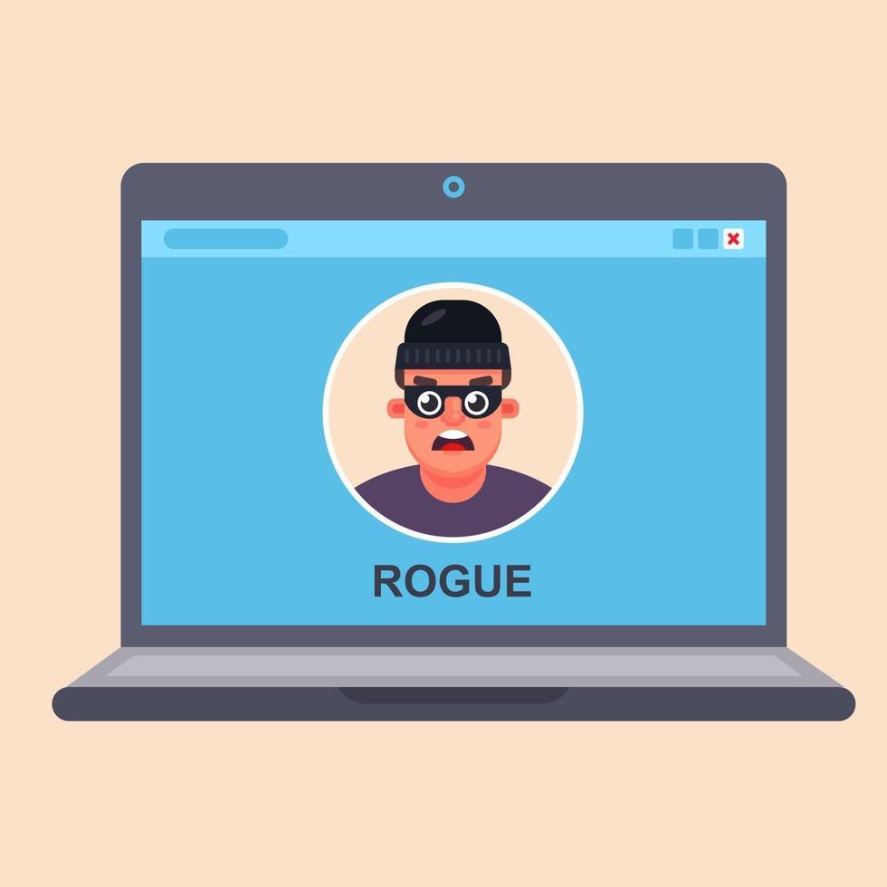 frode informatica su Internet. criminale nel monitor di un laptop. illustrazione vettoriale piatta.