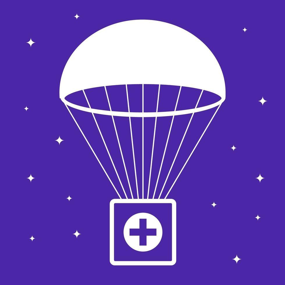 cassetta di pronto soccorso cade con il paracadute. aiuto sociale. illustrazione vettoriale piatta.