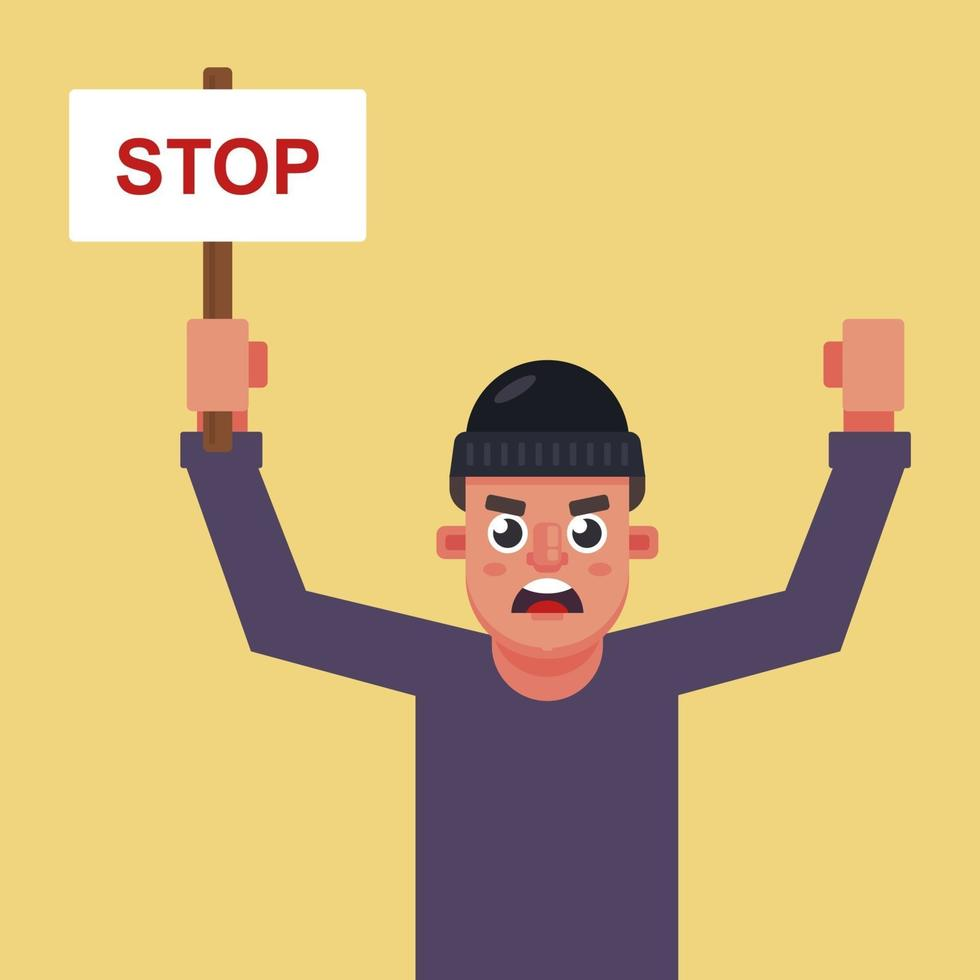 manifestante maschio con un poster in mano con la scritta stop. illustrazione vettoriale di carattere piatto.