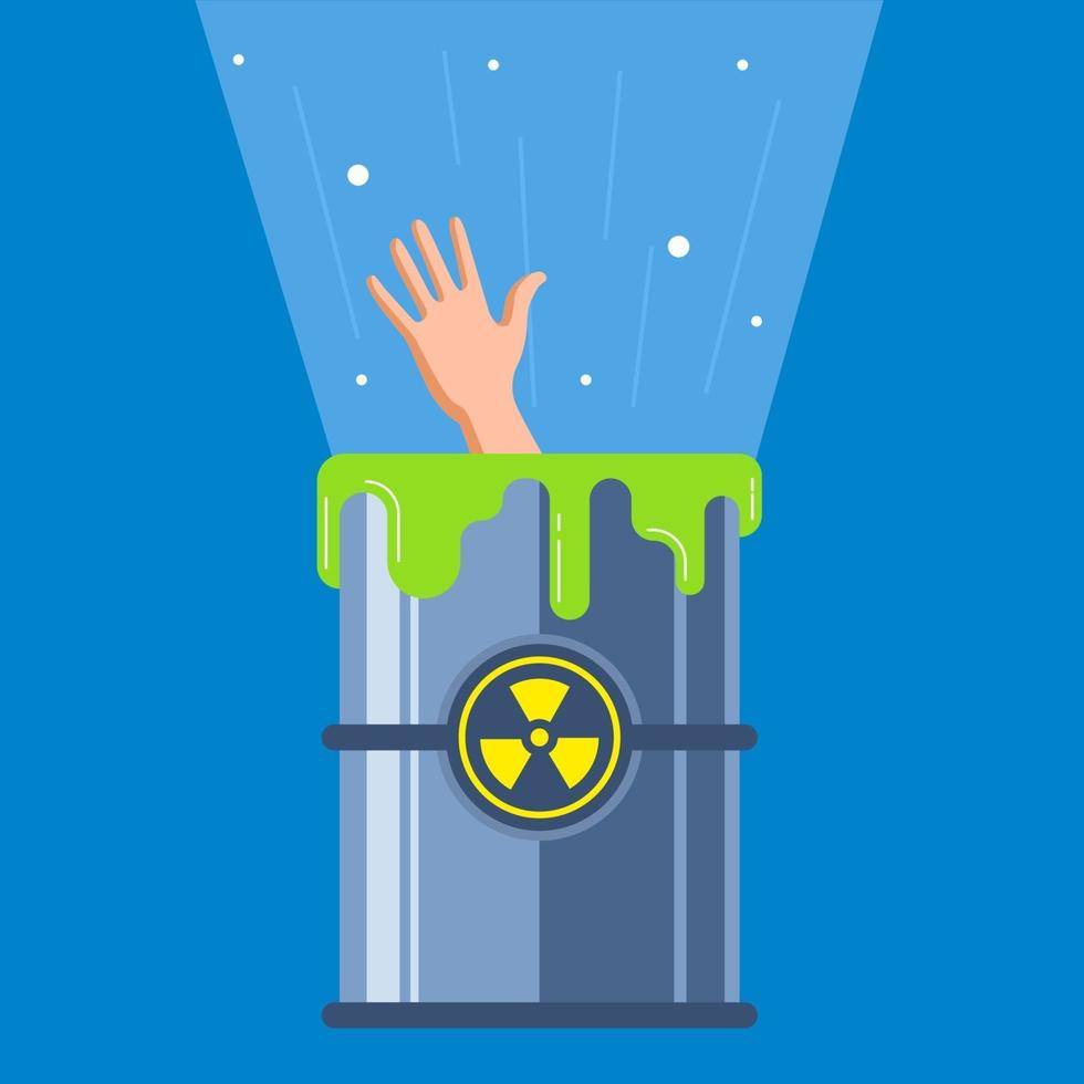 l'uomo è caduto in un contenitore radioattivo. mutazione del carattere. illustrazione vettoriale piatta.