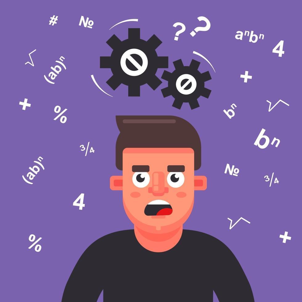l'uomo pensa a un problema di matematica. gli ingranaggi scricchiolano sopra la testa. illustrazione vettoriale piatta.
