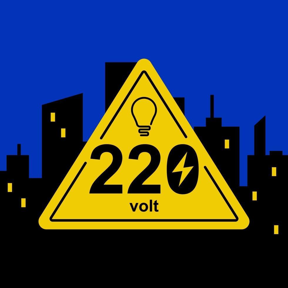 segno triangolare giallo di 220 volt sullo sfondo della città notturna. illustrazione vettoriale piatta.