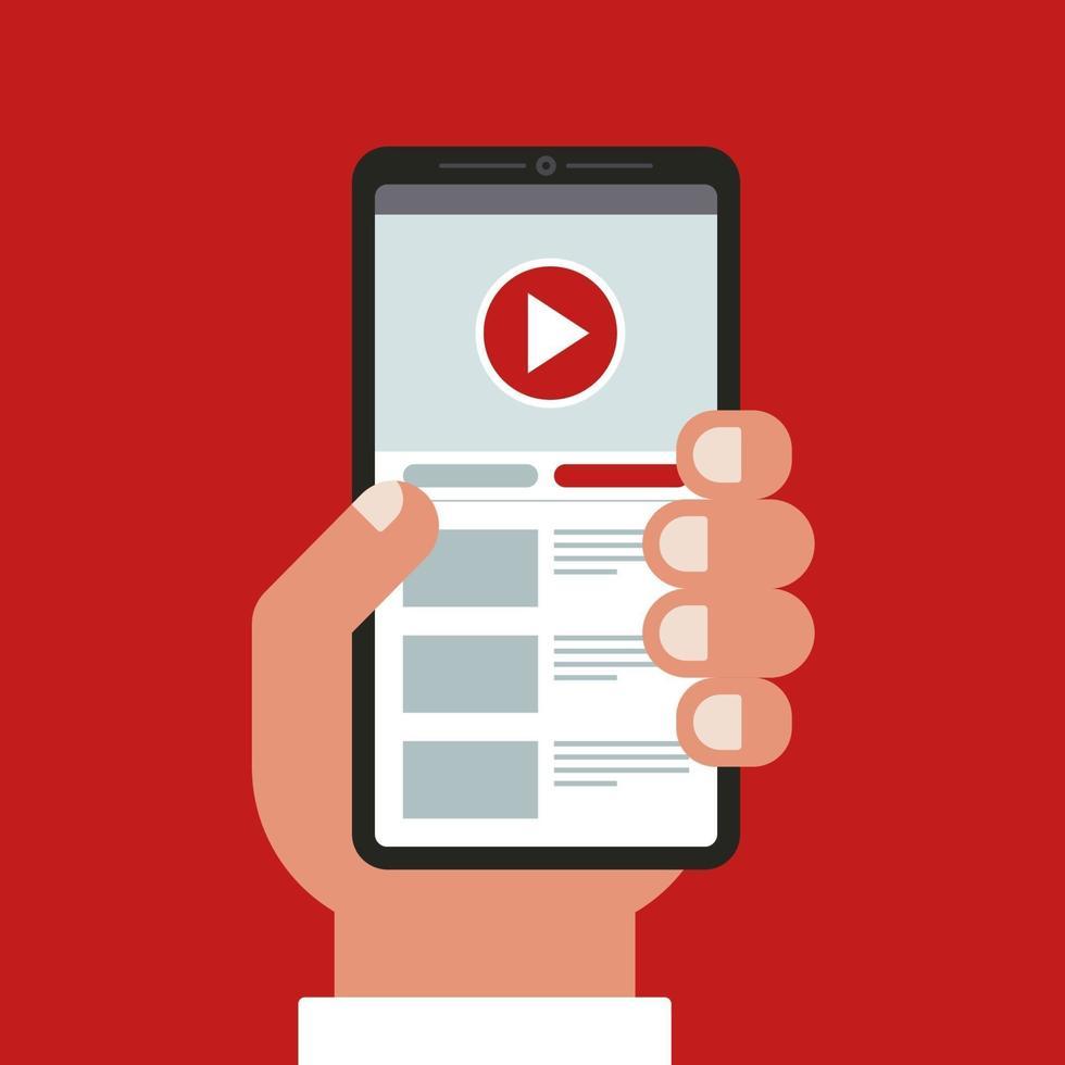 mano tiene un telefono cellulare. guardare i video nell'applicazione. illustrazione vettoriale piatta