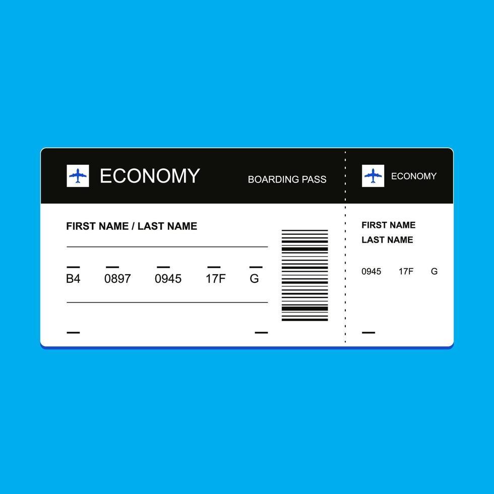 biglietto passeggeri in classe economica. illustrazione vettoriale piatta