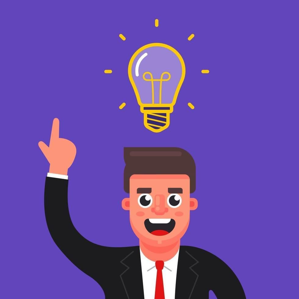il manager ha avuto un'idea brillante. lampadina sopra la tua testa. illustrazione vettoriale di carattere piatto.