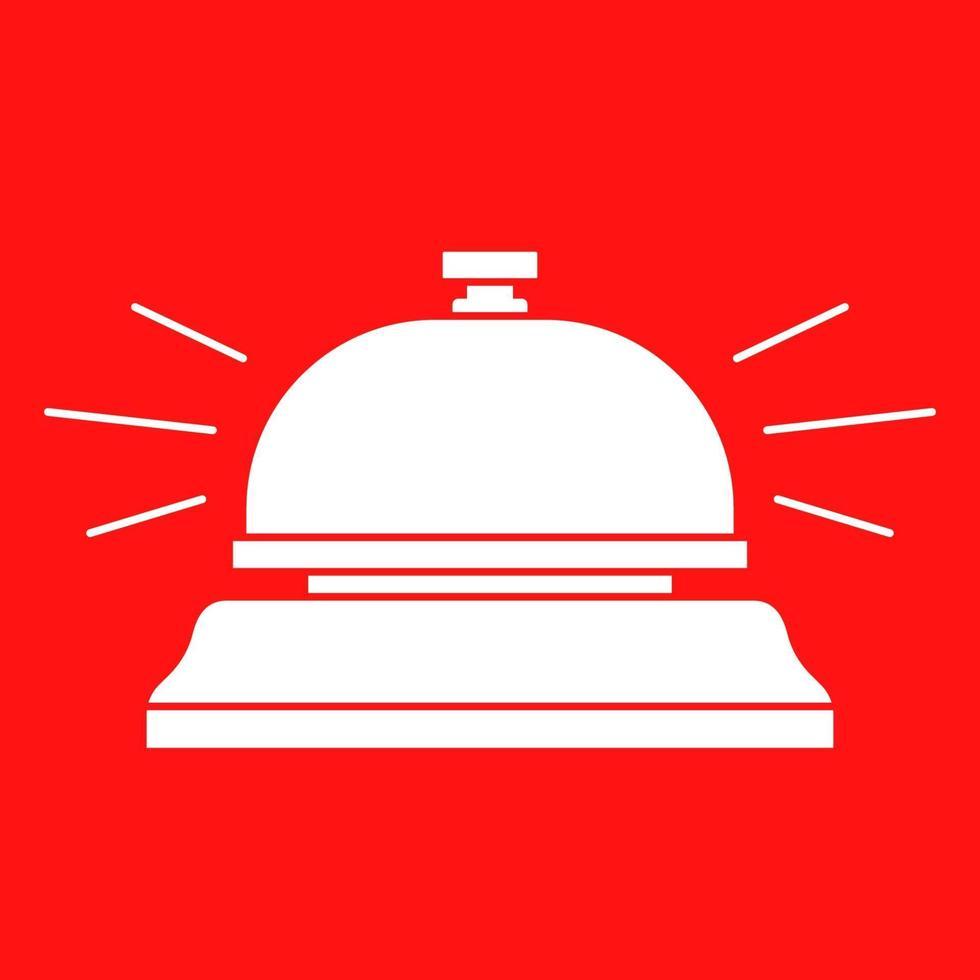 sagoma di un campanello dell'hotel su uno sfondo rosso. illustrazione vettoriale piatta.